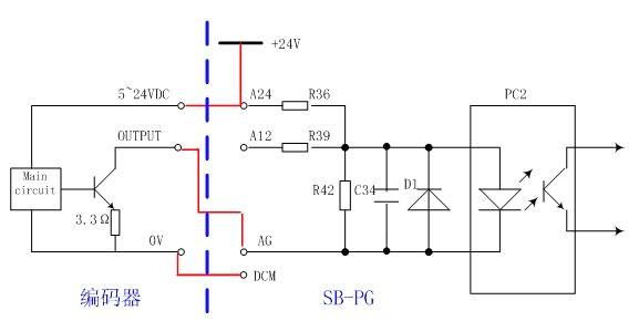 编码器(pg)为开路集电极输出